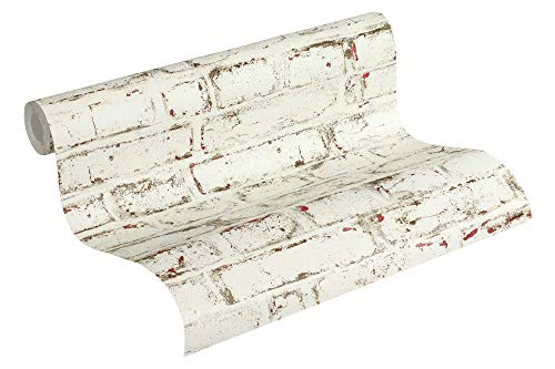 A.S. Création Vliestapete Trendwall Tapete in Vintage Backstein Optik 10,05 m x 0,53 m beige rot weiß Made in Germany 371621 37162-1