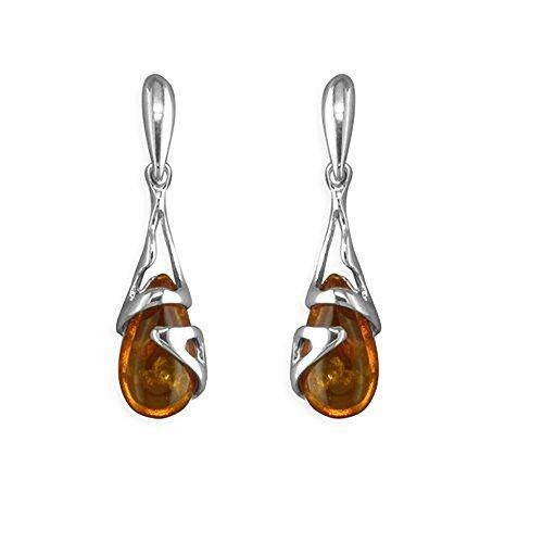 Baltische Honing Amber 925 Sterling zilveren Drop Oorbellen voor Vrouwen Dames Meisjes - Ongebruikelijke Art Deco Amber Fancy Dangly Drop Oorbellen - Voor Amber Sieraden Liefhebbers