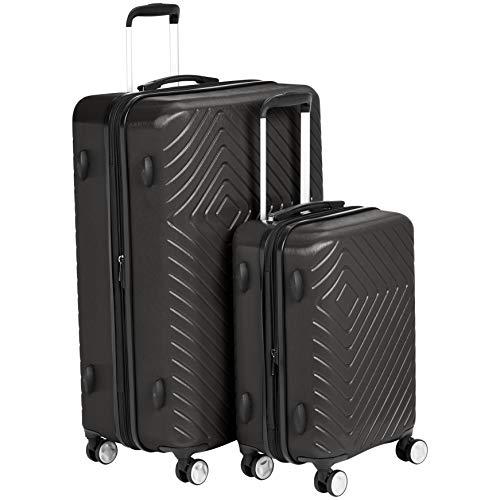 AmazonBasics 2 Piece Geometric Hard Shell Expandable Luggage Spinner Suitcase Set - Black