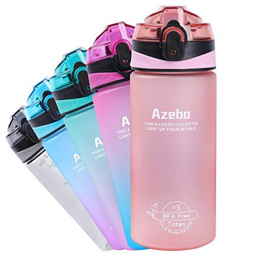 Azebo Borraccia grande da 32/26/16oz, con indicazione del tempo e filtro estraibile, Tritan, senza BPA, atossica, 1000 ml/750 ml/500 ml, per sport all'aperto e in ufficio, -E3SHS002-Mint Pink 550 ml