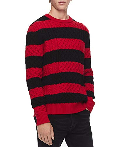 Calvin Klein Mens Wool Blend Striped Pullover Sweater Red M