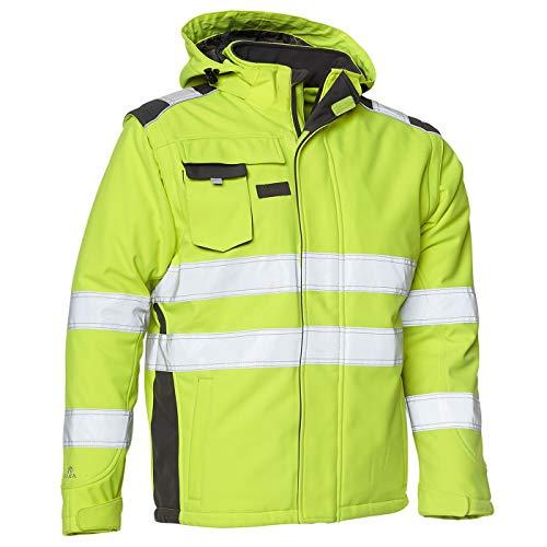 Elka Softshell-Winterjacke abzippbare Ärmel, Warnschutzjacke Gelb/Grau, Größe 2XL
