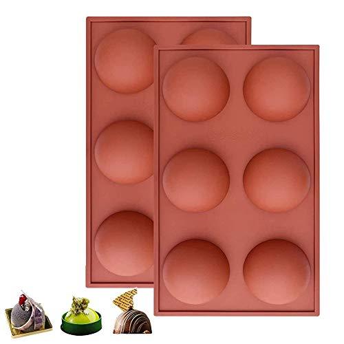 2PCS Molde de silicona con 6 agujeros, cubitos de hielo y gelatina ,bandeja de silicona de media esfera para chocolate, pasteles, gelatina, pudín, jabón hecho a mano