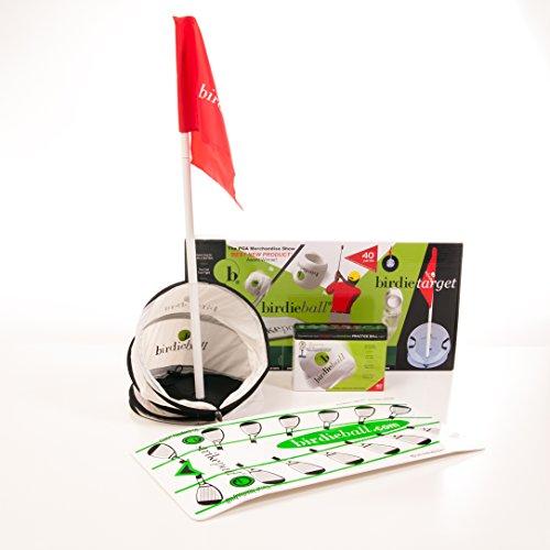 BirdieBall Set: Practice Golf Balls, Strike Pad and Birdie Target | 1 Dozen Full Swing Limited Flight Practice Balls, Training Strike Mat, and Practice Target