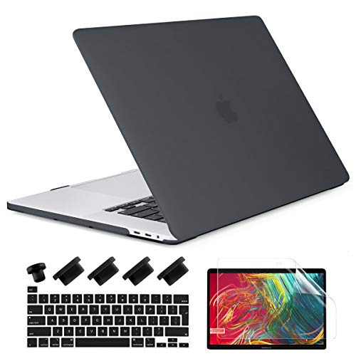 Dongke Macbook Pro 16 inch Case 2019 2020 Release A2141, Plastic Hard Shell Case & Keyboard Cover for Macbook Pro 16-inch Retina Display with Touch Bar and Touch ID Black