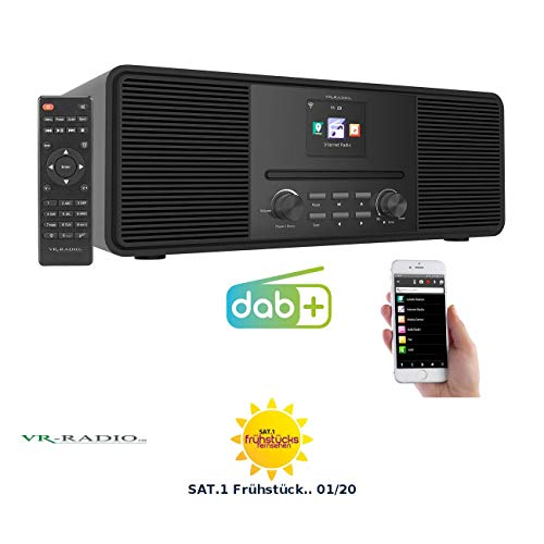 VR-Radio Digitalradio: Stereo-Internetradio mit CD-Player, DAB+/FM & Bluetooth, 40 W, schwarz (Radio mit CD)