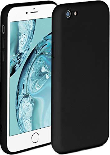 ONEFLOW Funda blanda compatible con iPhone 6S Plus/6 Plus, de silicona, borde elevado para protección de pantalla, doble capa, suave, color negro mate