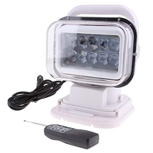 kesoto 50W Control Remoto Inalámbrico LED Giratorio Luz de Trabajo de Búsqueda Carcasa Blanca