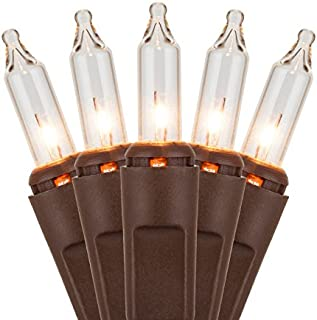 Holiday Essentials Brown Mini Lights - Clear White Lights with Brown Wire - Indoor/Outdoor Use - UL Listed - Set of 100