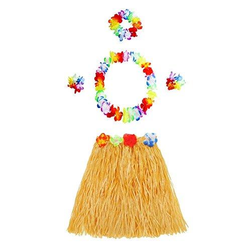 Seasaleshop Hawaiian Hula Dancer Disfraz de Falda de Hierba para niñas Mujer El Hombre Fiesta Hawaiana Luau Accesorio Fiesta Hawaii Traje 5pcs