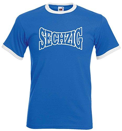 1860 Herren Retro T-Shirt Weiss-blau Schriftzug SECHZIG UltrasM