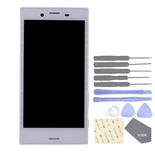 VEKIR Piezas de repuesto para teléfonos celulares Sony Xperia X Compact F5321 Display Touch Digitalizador Pantalla Asamblea con Marco de Pantalla (Blanco)