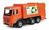 Lena 4604 Worxx Müllauto Mercedes Benz Arocs, Spielauto ca. 53 cm, Nutzfahrzeug für Kinder ab 3 Jahre, robuster Müllwagen mit 2 Mülltonnen und realitischen Spielfunktionen, orange -