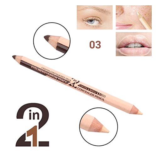 Yissma Professionelle Crayon à Sourcils Correcteur 2 en 1 Masquez Les Taches et décrivez Les Lignes des Sourcils et des Eye-Liner