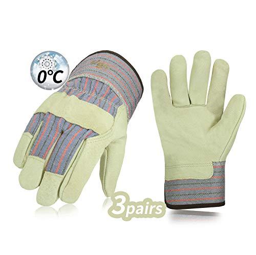 Vgo 3 paar 0°C/32°F of boven winter leer winter warm werk tuin handschoenen wanten, multifunctionele veiligheid handschoenen (strepen, PA3501F), M, Strepen, 3