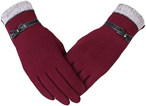 Fashion Women Gloves Cute Bow Warm Warmer Mitts Full Finger Mittens Women Cashmere Female Gloves - (Color: red, Gloves Size: one Size)