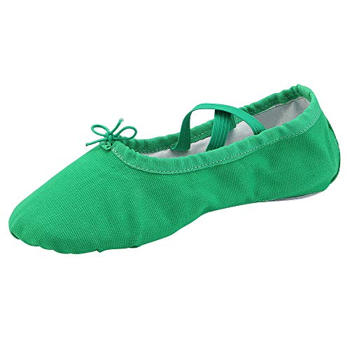 staychicfashion Womens Ballet Practice Ballroom Dance Shoes Canvas Belly Slippers Split-Sole(6.5, Green)