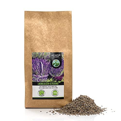 Fiori di lavanda essiccati (250g), Infuso di fiori di lavanda, lavanda 100% naturale, ad alta intensità di profumo, delicatamente essiccati e senza additivi per la preparazione del tè