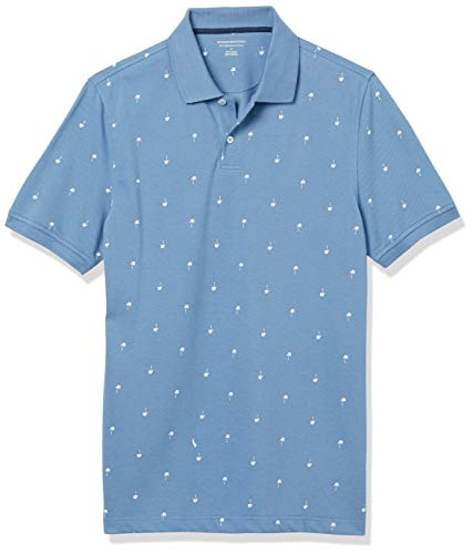 Amazon Essentials Slim-fit Striped Cotton Pique Poloshirt, Blau/weiße Handfläche., L