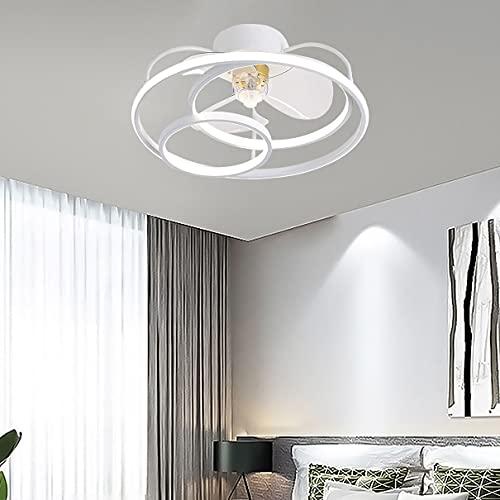 Lamparas Ventilador De Techo 3 Velocidades LED Dormitorio Regulable Ventilador Techo Con Luz Y Mando Φ50cm Moderno Silencioso Ventilador Techo Con Luz Y Temporizador,Blanco