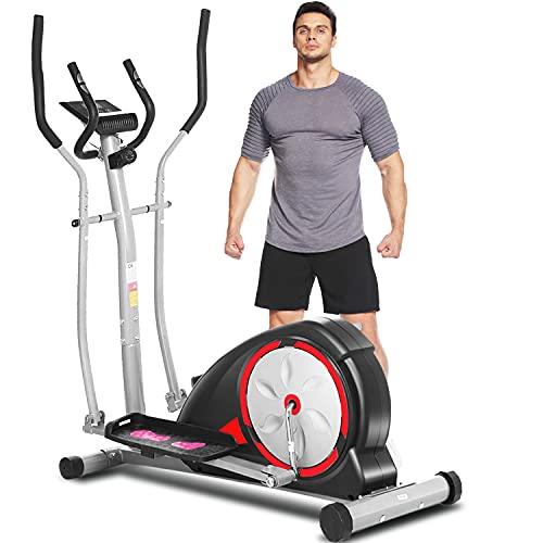 JACKCOMCOM Crosstrainers für Zuhause, Ellipsentrainer für den Heimgebrauch mit Pulsfrequenz-Griffen, magnetisch, glatt, leise angetrieben, Maximale Kapazität Gewicht 120kg (Black)