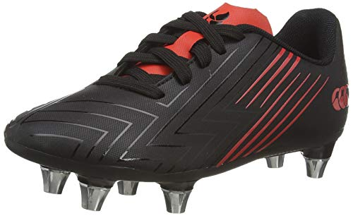 Canterbury Boy's Speed 3.0 Junior Soft Ground Rugby Boot, Black/Fiery Red, 5.5 UK