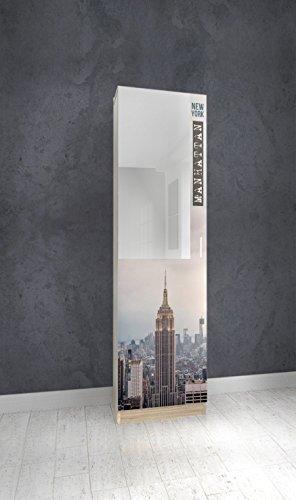 Abitti Zapatero recibidor Roble con Espejo 180cm, con serigrafia Manhattan