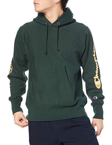 [チャンピオン] パーカー トレーナー 裏起毛 長袖 11.5oz スクリプトロゴサテンアップリケ リバースウィーブ フーデッドスウェットシャツ C3-S107 メンズ ダークグリーン M