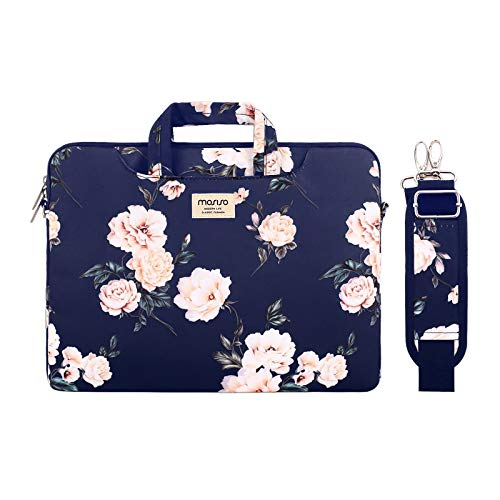 MOSISO Laptop Shoulder Bag Compatible with 13-13.3 inch MacBook Pro, MacBook Air, Notebook Computer, Camellia Carrying Briefcase Sleeve with Trolley Belt, Blue