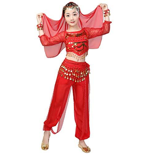 Costume da 6 Pezzi per Ragazza, Costume per Danza del Ventre, Vestito da Carnevale di Carnevale, Vestito da Ballo Indiano per Principessa araba (L, Rosso)