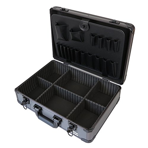 HMF 14601-02 Aluminium Tool Case, Tool Box empty, individual compartments, 46 x 15 x 33 cm