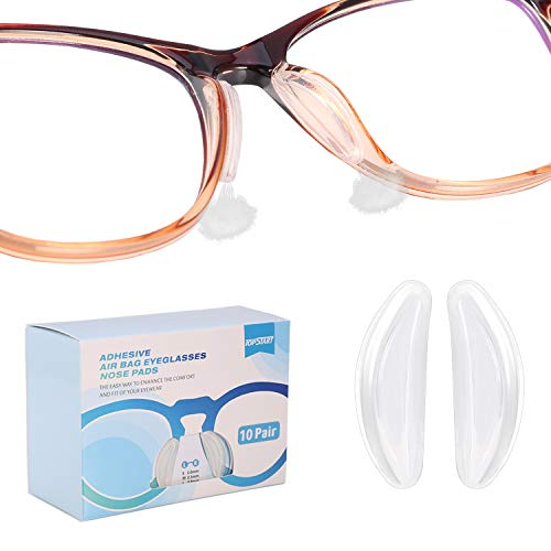 SMARTTOP Upgraded Eyeglasses Silicone Nose pads, 10pais 2mm Air Chamber Anti-Slip Adhesive Nose pads-One hole in both side design more soft and comfortable-For full frame Sunglasses Reading Spectacles