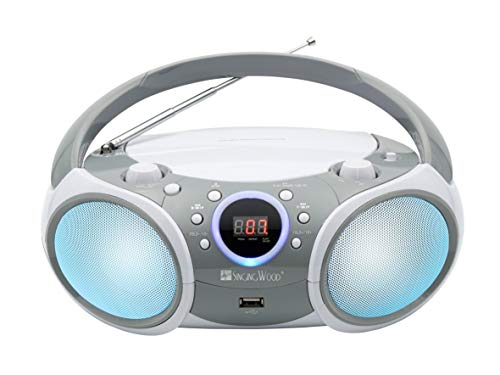 SINGING WOOD CD/CD-R/CD-RW Boombox Portable/w Bluetooth, USB, AM/FM Radio, AUX-Input, Headset Jack, Foldable Carrying Handle and LED Light (Space Grey)