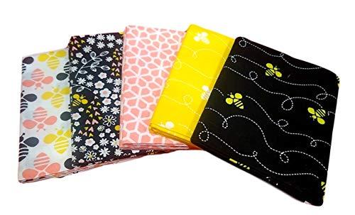 Fat Quarter Fabric Bundle Set 5 (1/4 Yard) Bumble Bee Flowers Black Yellow Cotton Stack (0.25 Yard Bundle)
