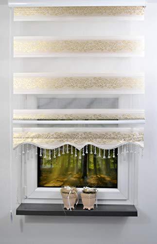 plisseeonline Duo Rollo Farbe Doppelrollo Creme mit goldenen Muster + Alu-Kassette in verschieden Breiten mit Perlen Volant (100 x 200 cm)