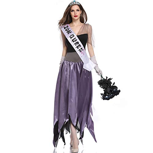 Halloween Bloody Mary Pageant Disfraz De Miss Demon, Disfraz De Cosplay De Fiesta, Disfraz De Zombi, Que Incluye: Falda, Cinturn De Pecho, Sombreros, Guantes