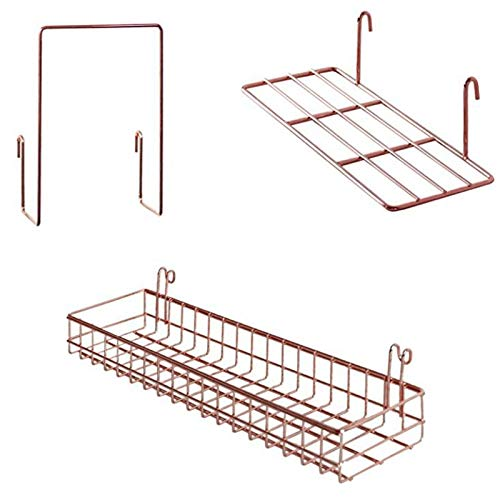Mungowu 3 Pcs Rose Gold Grid Basket with Hooks Bookshelf Display Shelf for Wall Grid Panel Wall Mount Organizer and Storage Shelf Rack for Home Supplies