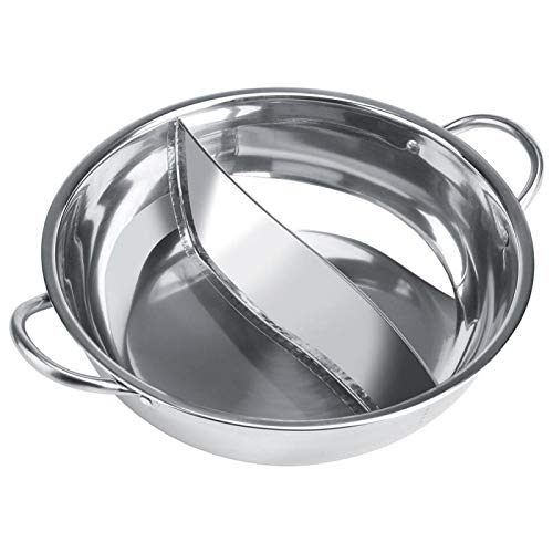 Shabu Shabu Hot Pot, Stainless Steel Hot Pot with Divider for Induction Cooktop Gas Stove (30cm)