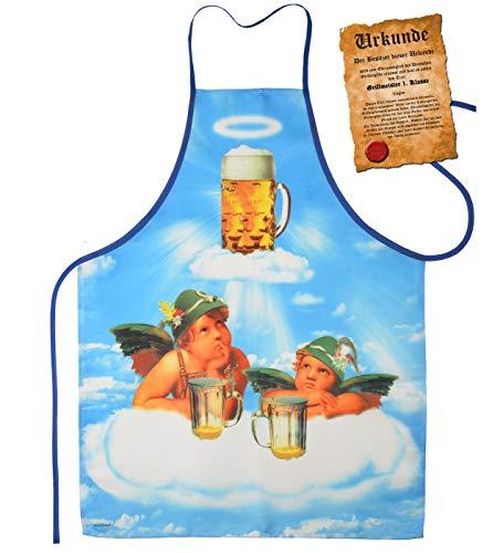 Mega grote schort BBQ-schort kookschort met certificaat - 2 engelen in de bierhemel - grappig grappig artikel voor elke gelegenheid carnaval cadeau-idee