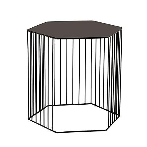 ZHIRONG Muebles para El Hogar Mesa Auxiliar Hexagonal Moda Nórdica Arte De Hierro Sala De Estar Sofá Mesa Esquina Mesa De Esquina Mesa De Almacenamiento Dormitorio Mesa De Noche(Color:Negro)