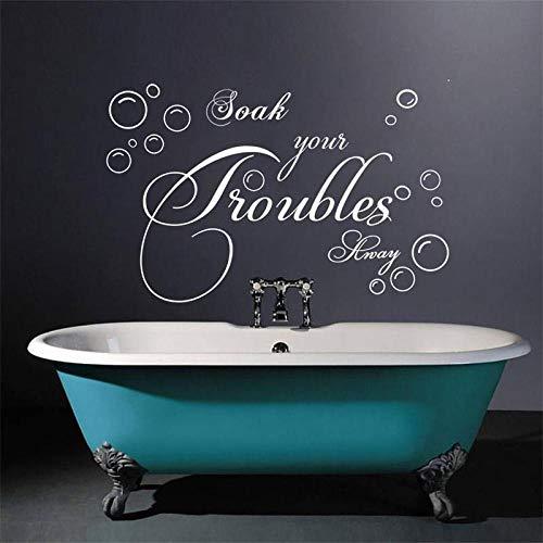 Badezimmer Wandaufkleber Schriftzug Tränken Sie Ihre Probleme weg Blase Vinyl Wandtattoos Kunst Vinyl Wand Zitate-WEISS