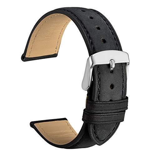 WOCCI 22mm Cinturino Orologio in Pelle Vintage con Fibbia Argento, Cinturino di Ricambio (Nero)