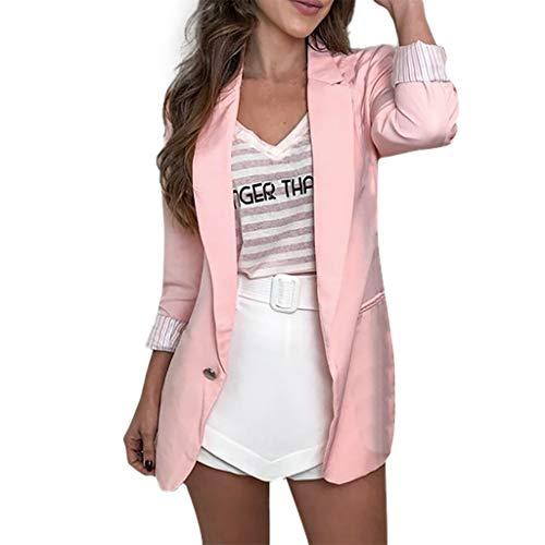 MRULIC Damen Einfarbig Jacken Umlegekragen Jacke Langarm Mantel Büromantel Strickjacke