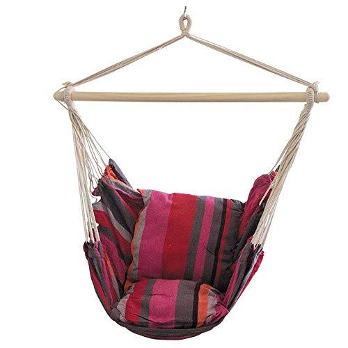 WangLx Swing chair Fauteuil Suspendu pour Asseoir Hamac,100x100cm Chaise Toile De Haute Qualité Balançoire Livré avec Deux Oreillers, Red