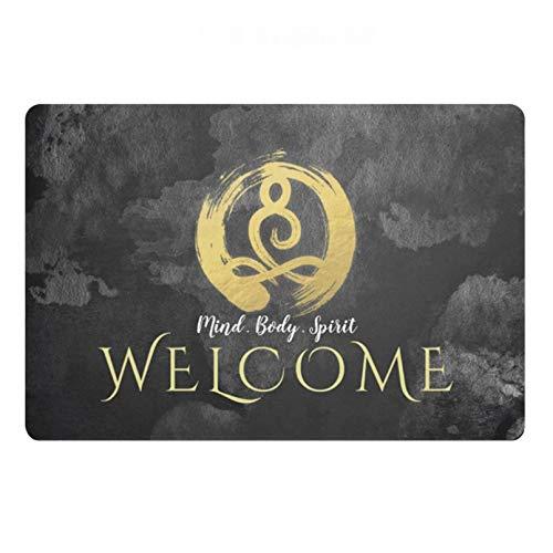 RQJOPE Alfombra de baño Felpudo Instructor de Yoga Meditación Dorada Símbolo Zen Felpudo Alfombra Alfombra Alfombra de Puerta de Bienvenida para Yoga Studio SPA Masaje Salón Decoración-60x90cm