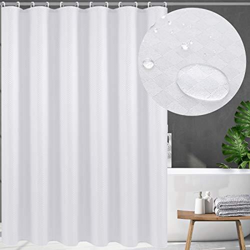 Swanson Duschvorhang in Weiß mit Duschringen. Antischimmel. Modern. Edel. 120/150/180/200 x 200 cm (180 x 200 cm)