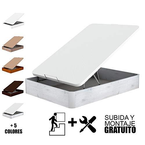 TOPDORMITORIOS - Canapé Madera Eco Gran Capacidad con Subida Y Montaje Gratuito - CAJÓN Madera NÓRDICO- Tapa 3D Blanca, 150 x 190 cm.