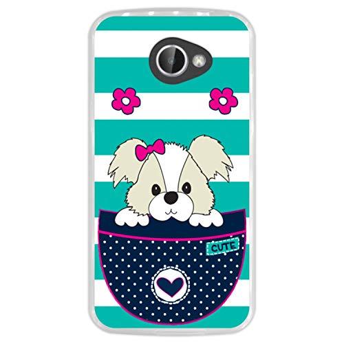 Hapdey Funda Transparente para [ LG K5 ] diseño [ Adorable Perro de Dibujos Animados en un Bolsillo ] Carcasa Silicona Flexible TPU