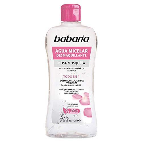 BABARIA Rosa MOSQUETA Agua DESMAQUILLANTE MICELAR 400ML, Rose Maquillage Eau DÉMAQUILLANT Mixte, Negro, Seulement
