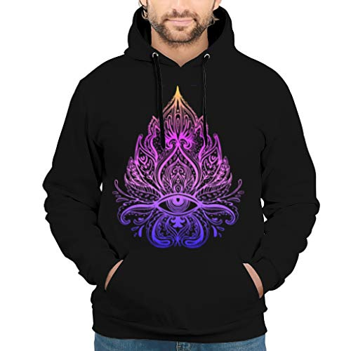 Dogedou Herren Oversized Hoodie Kapuzenpullover Lotus Eyes Yoga Buddhism Slim Fit Sweat Hoodie Für Jugenden White s